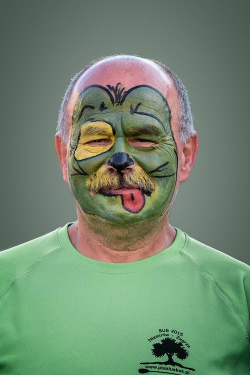 フェイスペインティング, マスク, 男性, 緑の無料の写真素材