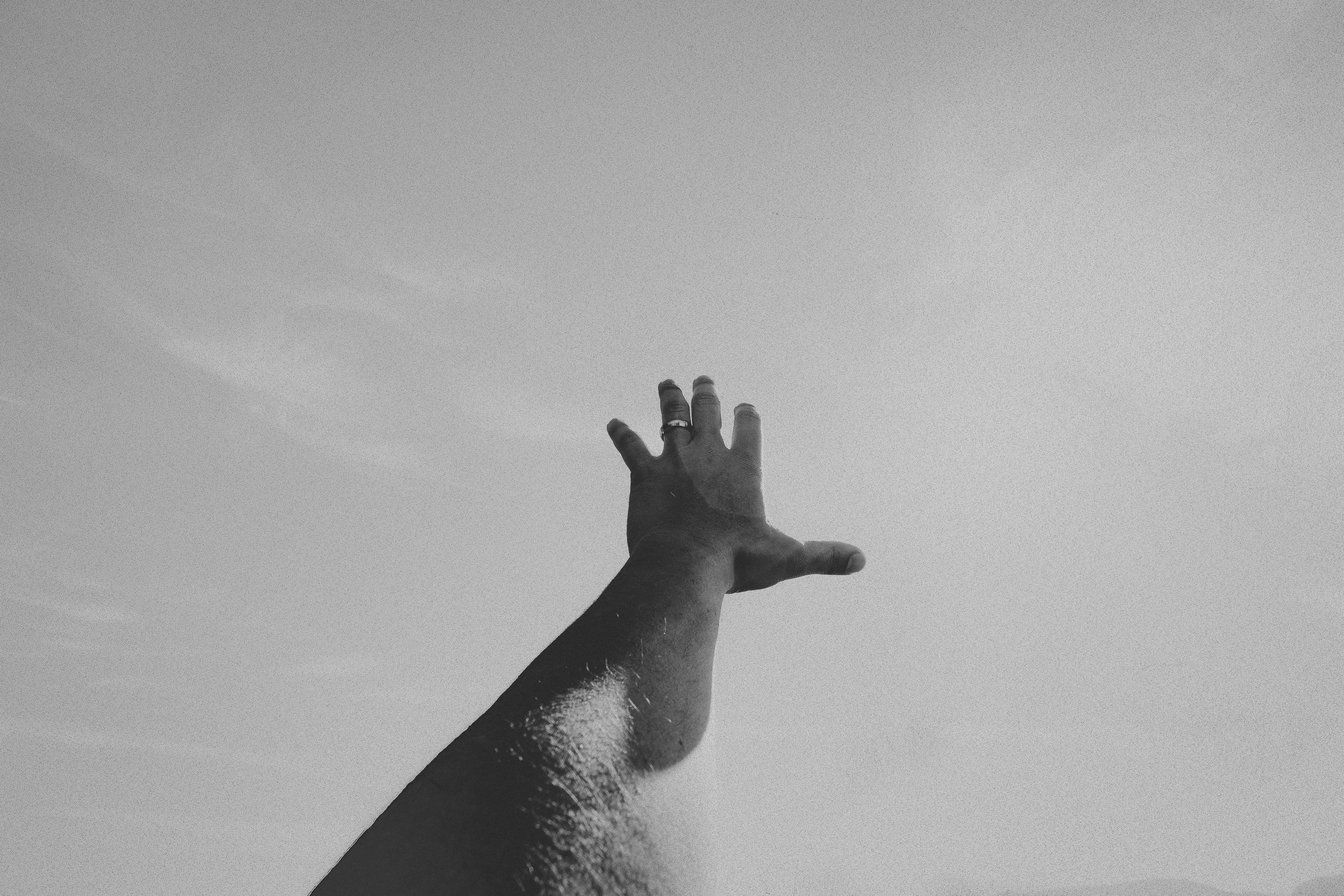 Monochrome Photo of Left Hand