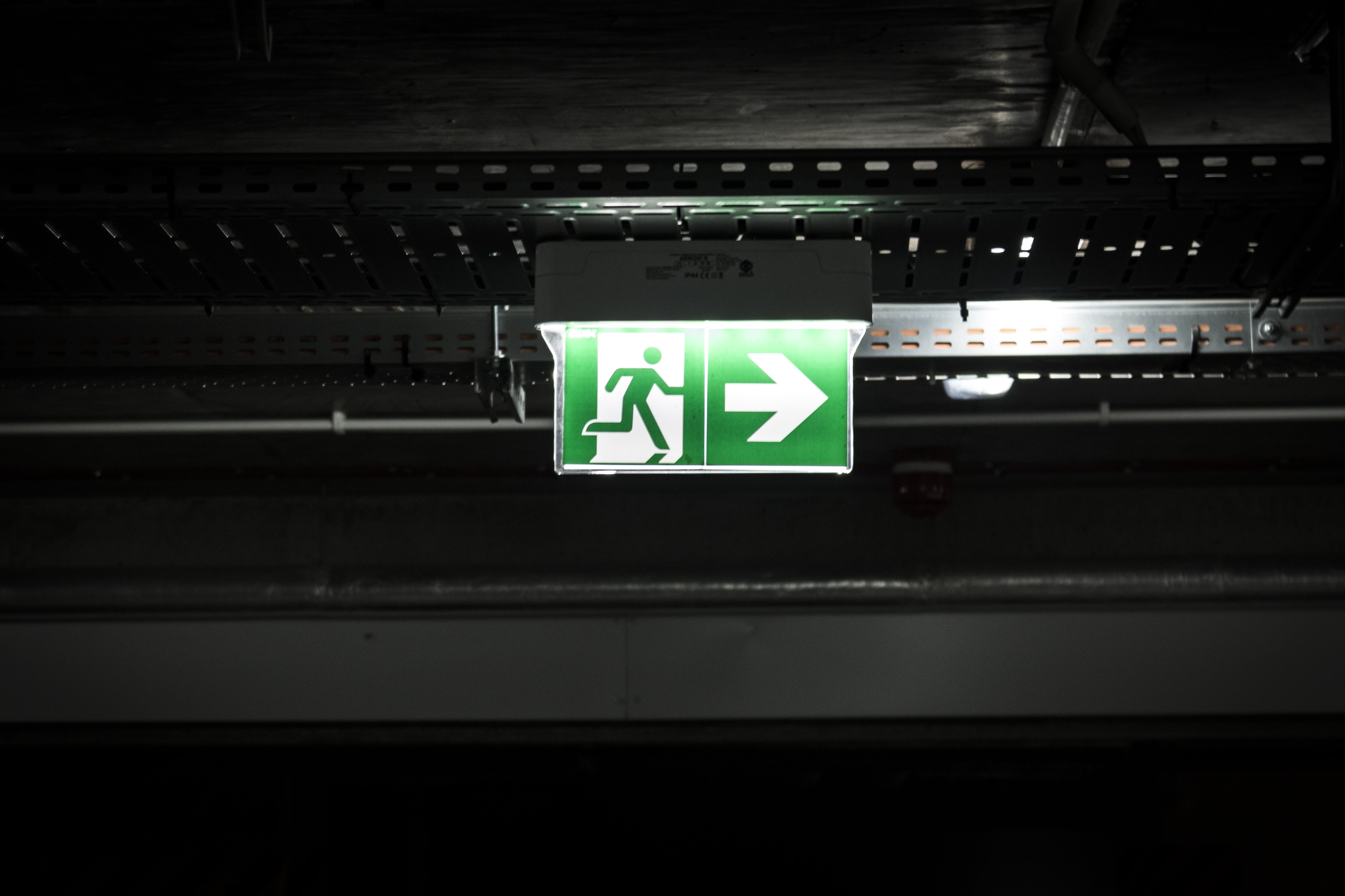 Green and White Exit Way Sign