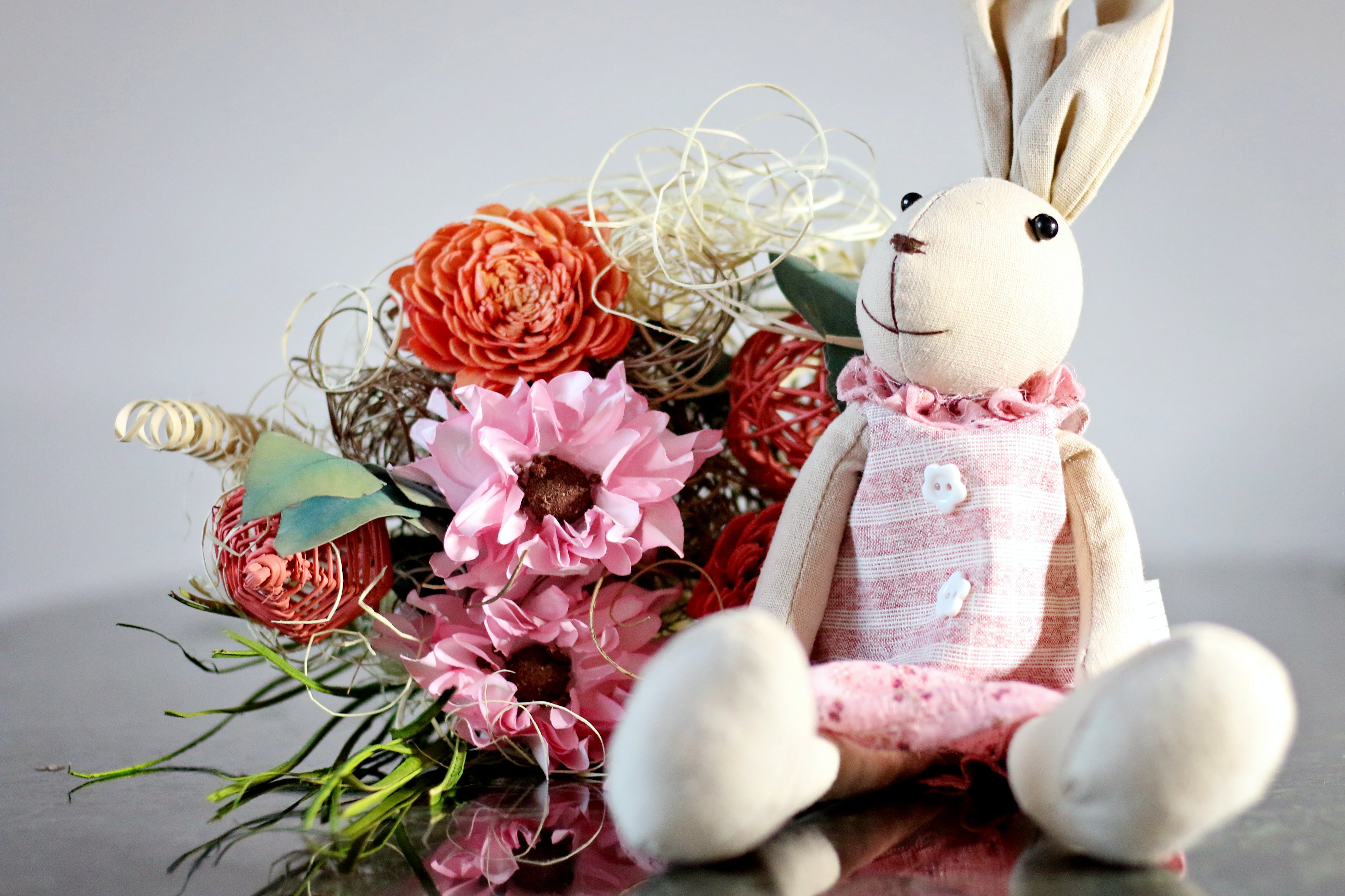 Beige Bunny Plush Toy With Pink Cloth