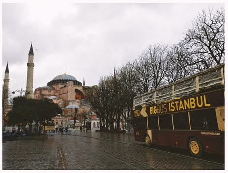 Brown Bigbus Istanbul Traveling on Road Near Brown Dome Building