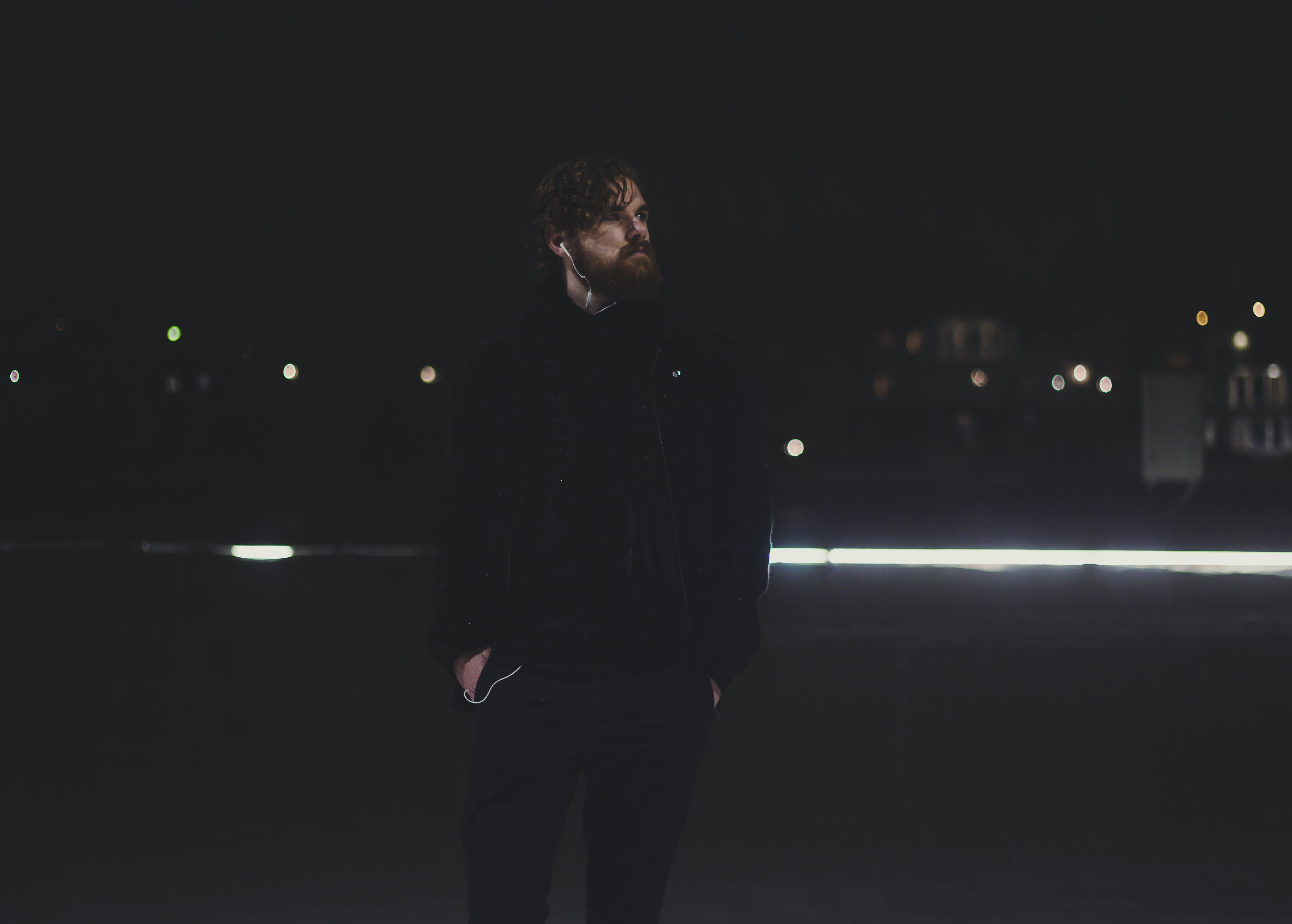 Man Wearing Jacket and Pants