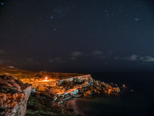 Rock Cliff Near Body of Water Under Clouds and Sky during Nighttime