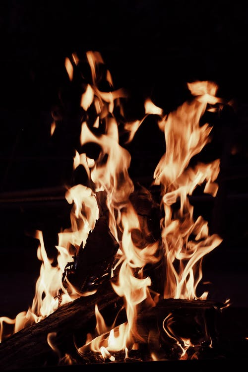 Burning bonfire in darkness in evening time