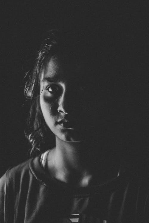 Free stock photo of black and white, dark, girl