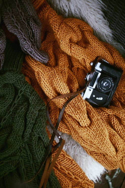 Black and White Camera on Knit Textile