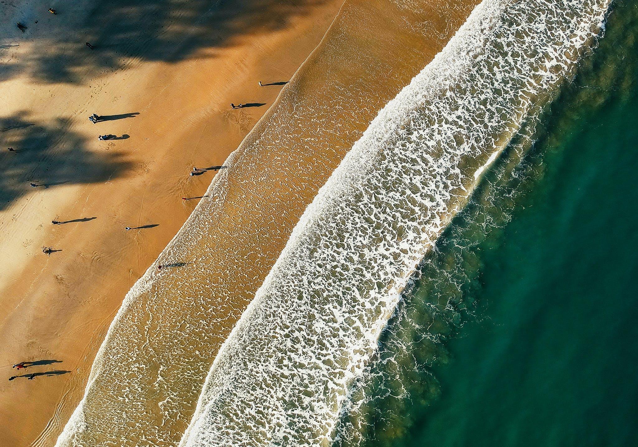 シースケープ, ビーチ, 上から, 岸の無料の写真素材