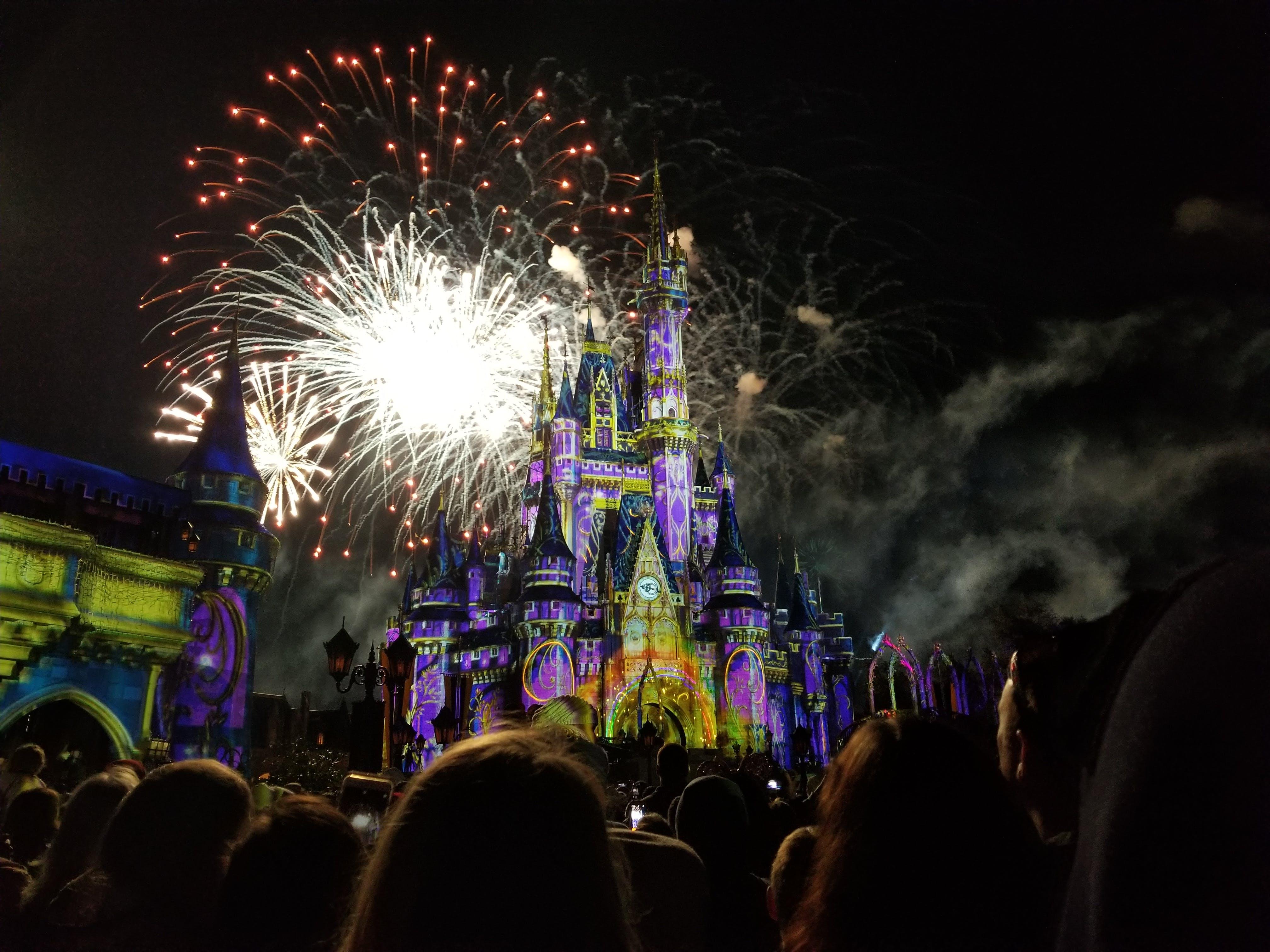Free stock photo of castle, disney, fireworks