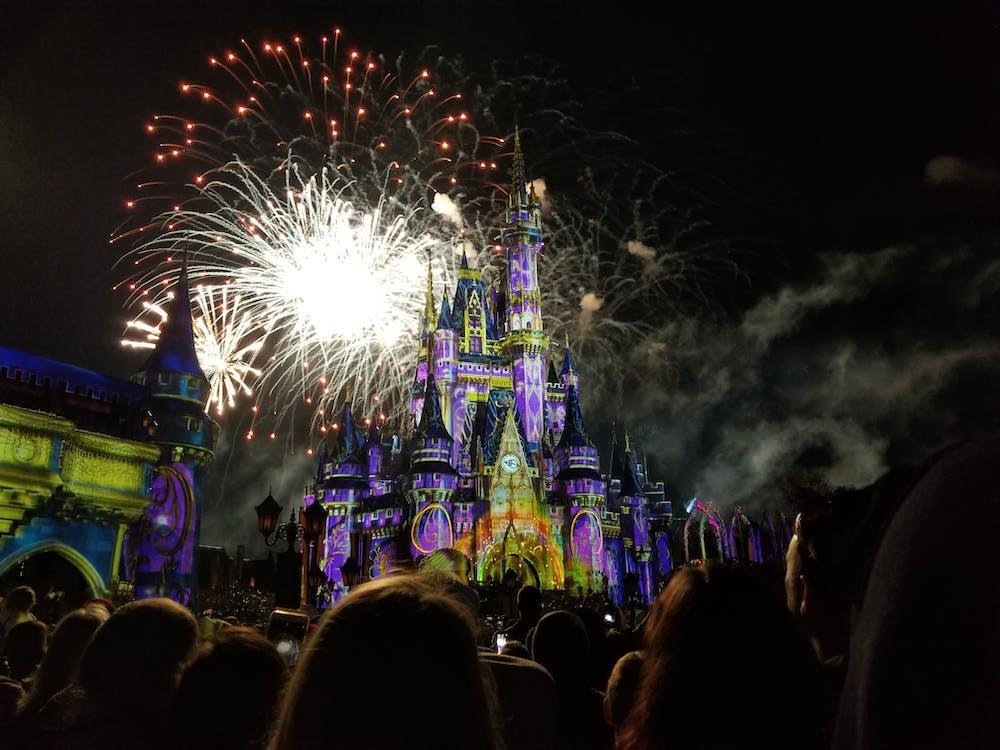castle, disney, fireworks