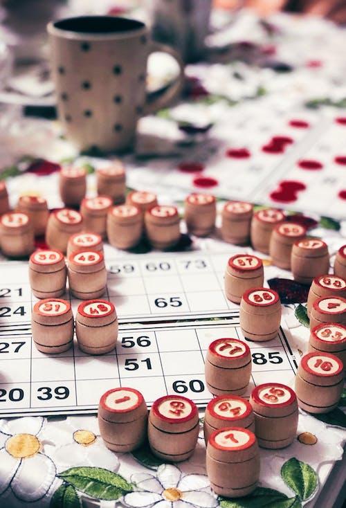 Bingo Chips on Top of Bingo Cards