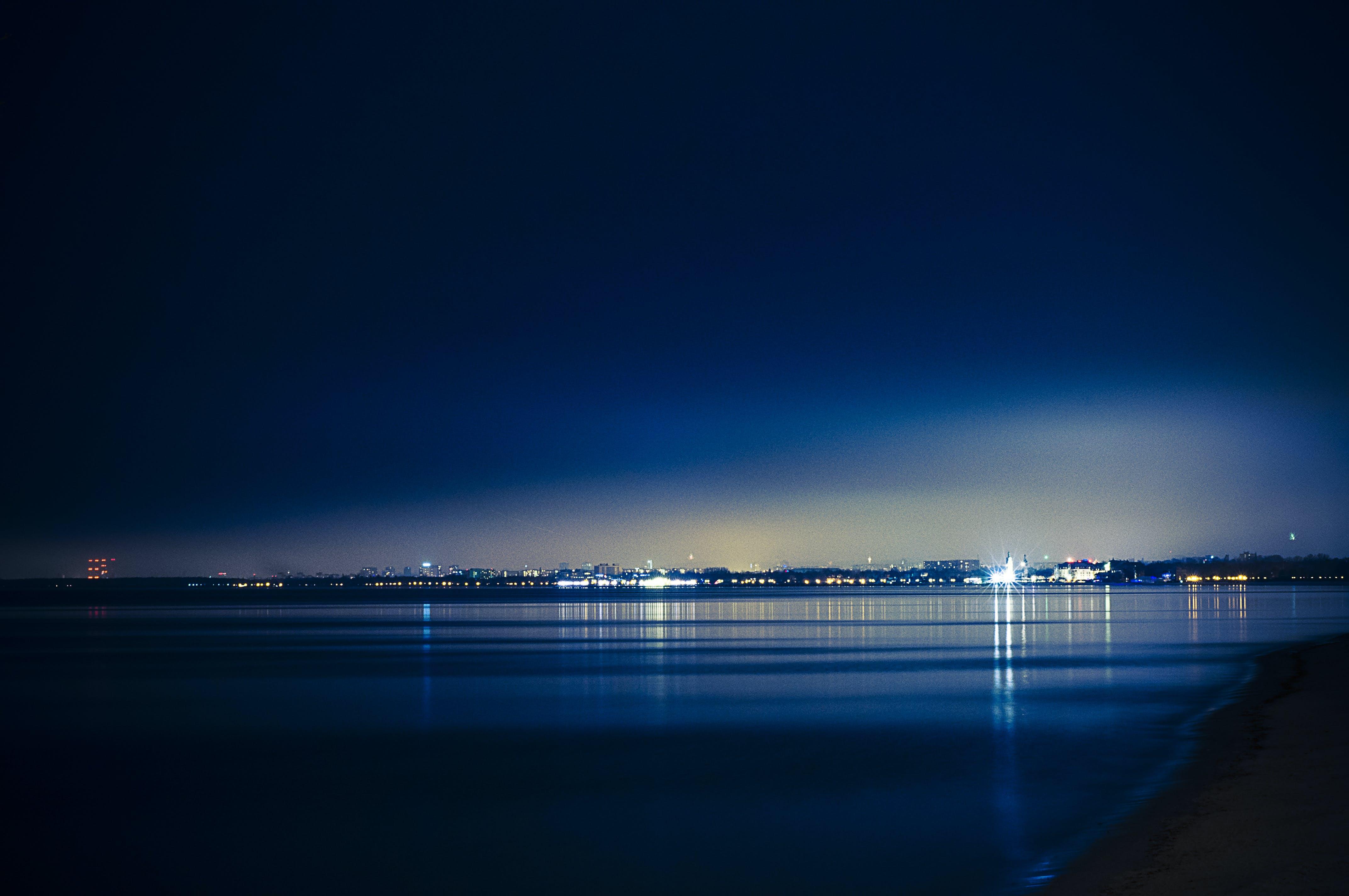 Free stock photo of sea, lights, night, dark