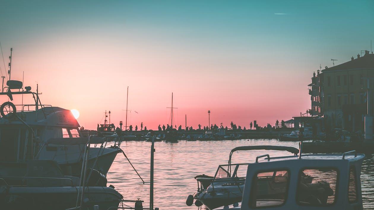 amanecer, bahía, barcos