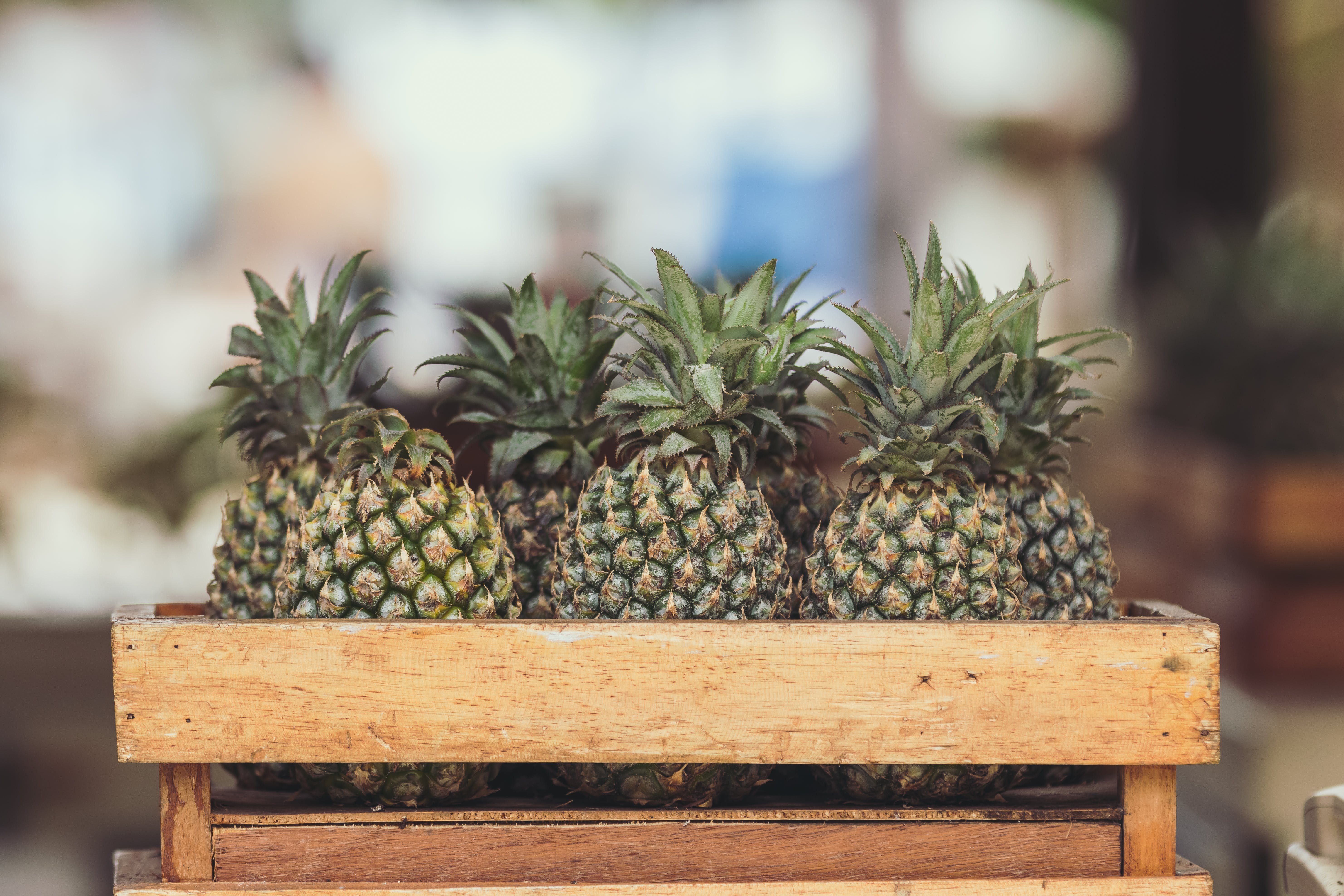 Pineapple Fruits on Wooden Crate