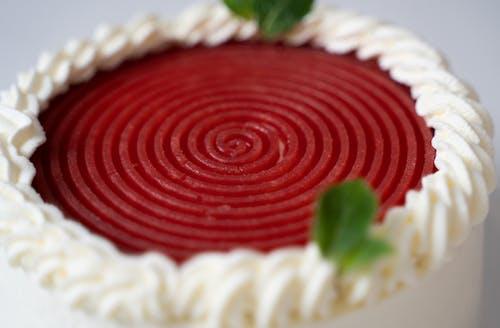Red and White Round Cake