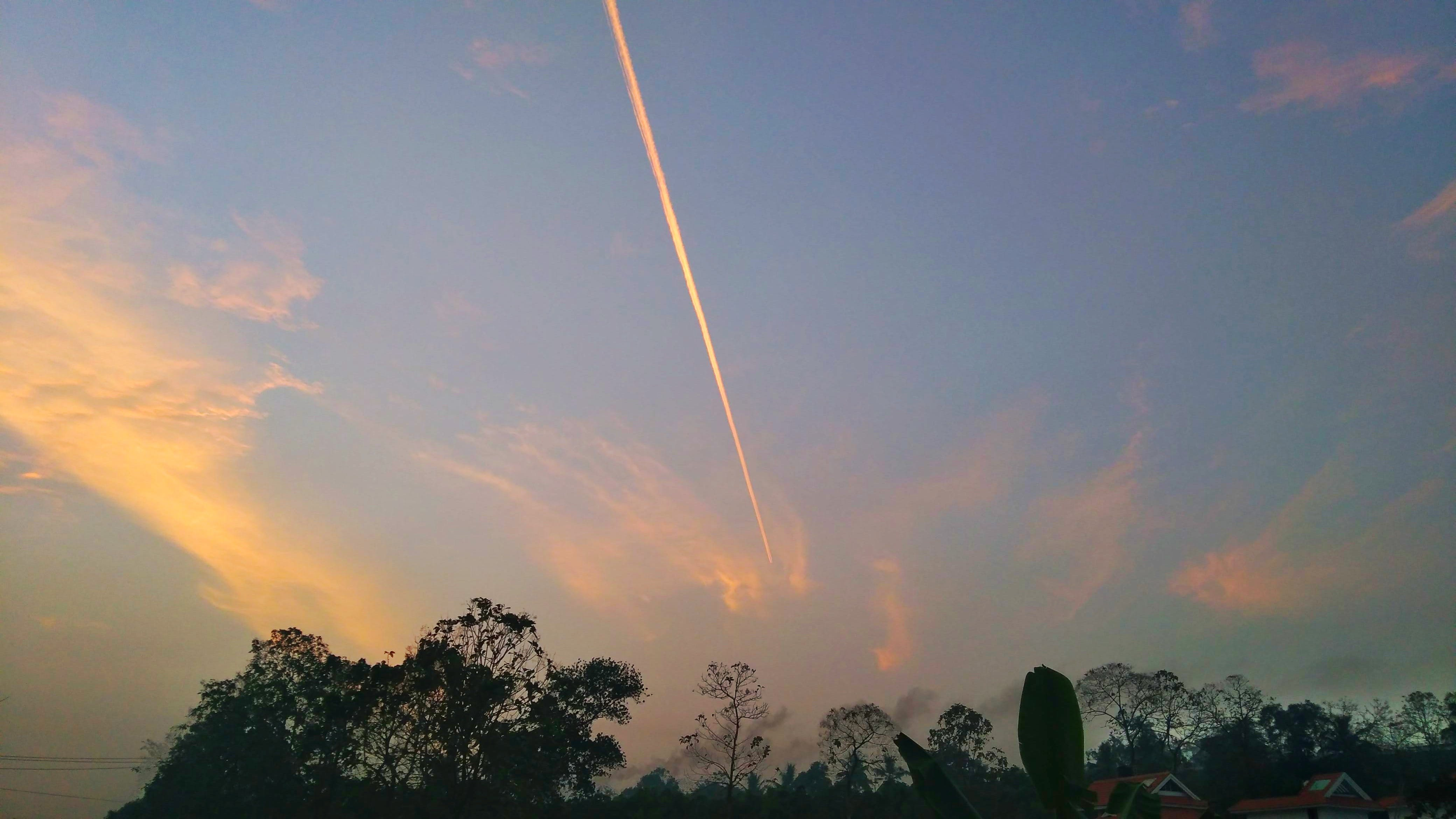 Free stock photo of aeroplane, early morning, red sky