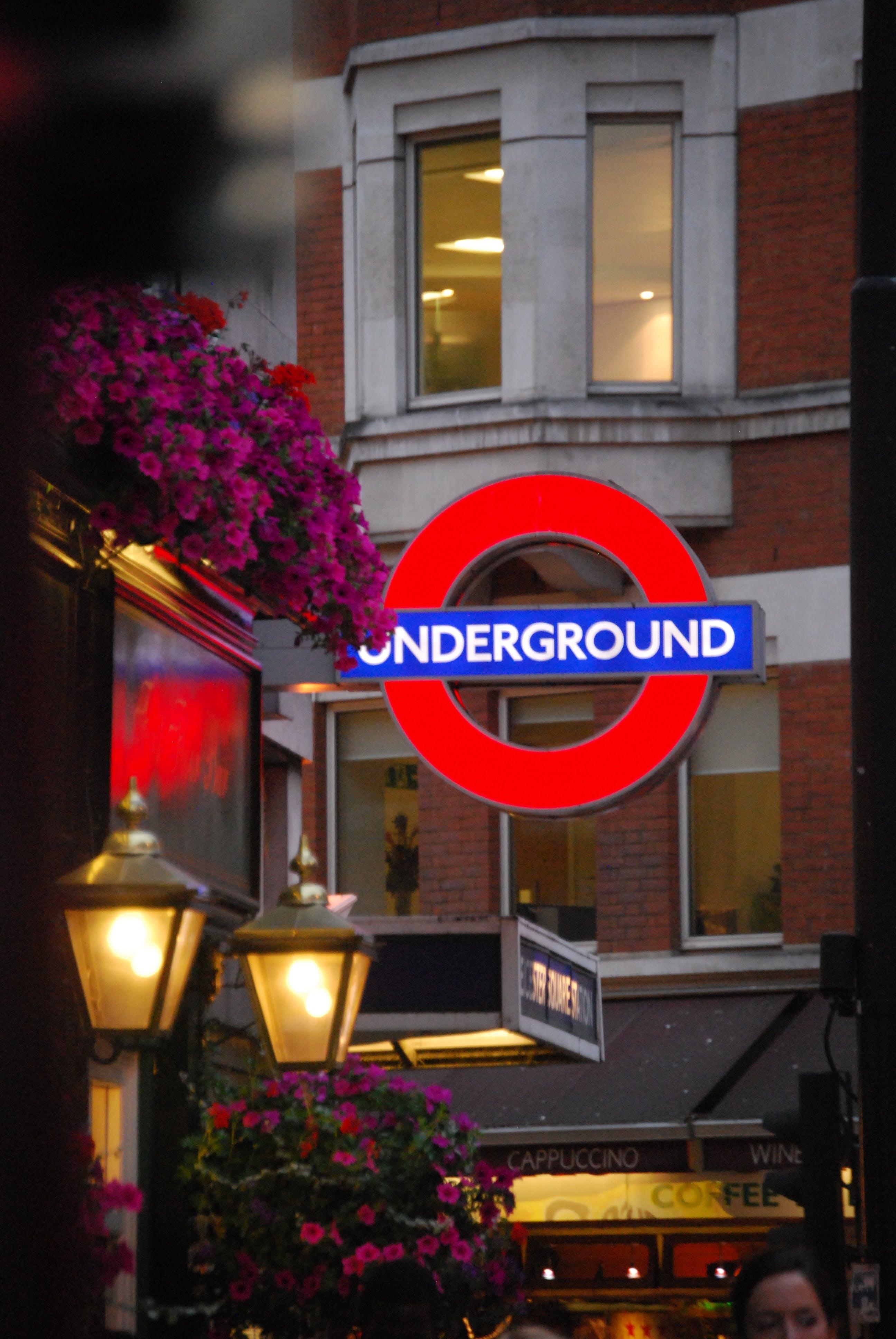 Free stock photo of london, night, sign, underground