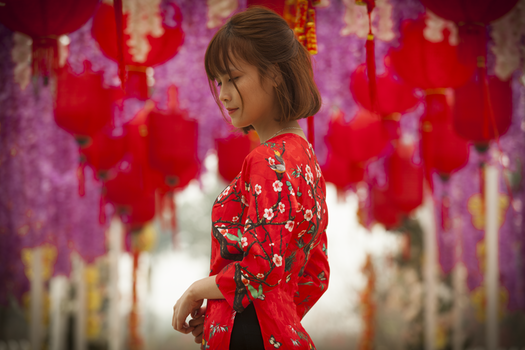 Woman in Red and White Floral Cheonsam Smiling