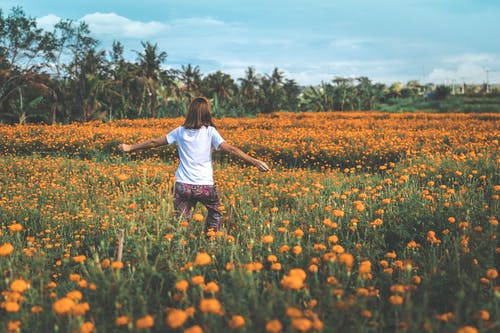 Girl Running on Yellow Flowers
