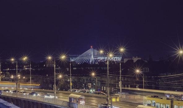 Free stock photo of lights, night, street, warsaw
