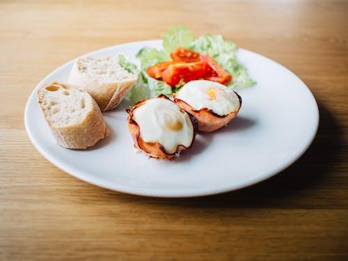 Základová fotografie zdarma na téma chleba, jídlo, šunka, talíř