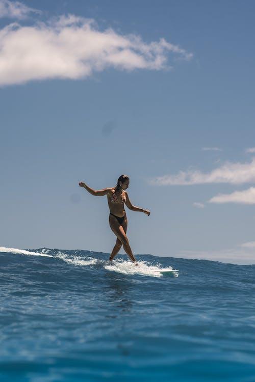 Woman in Black Bikini Jumping on Water