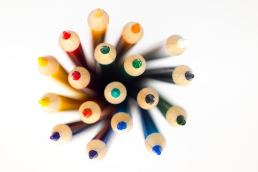 Shallow Focus Photography of Color Pencil Lot