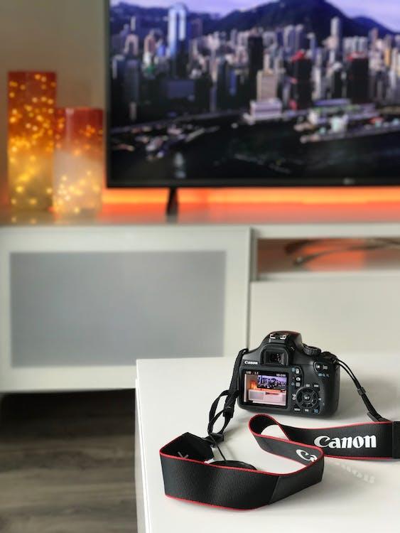 adentro, cámara, Canon