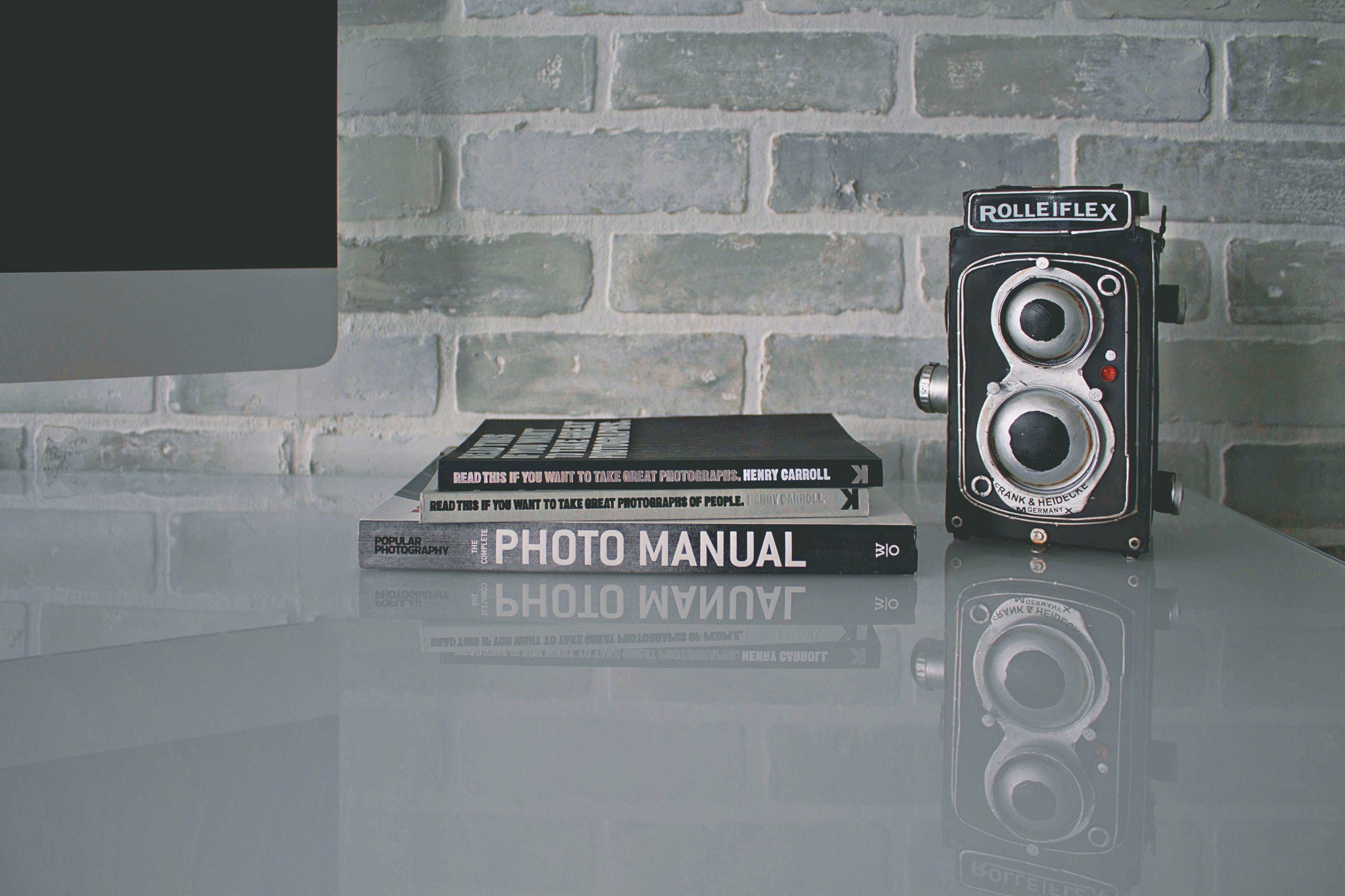 ausrüstung, bücher, kamera