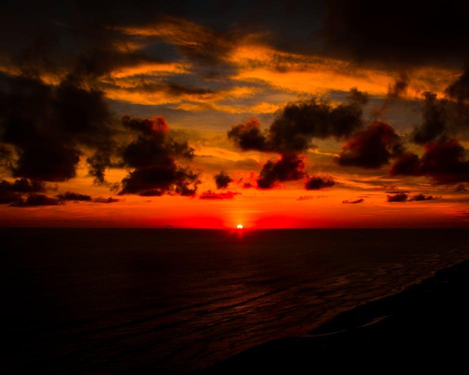bakgrundsbelyst, gryning, hav