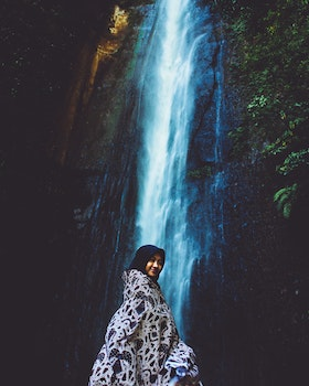 Woman in Front Waterfall