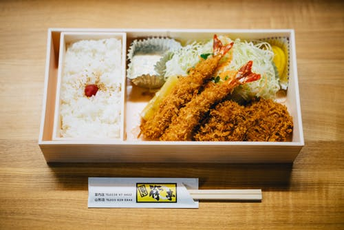 Ebi Tempura Bento on Brown Wooden Table