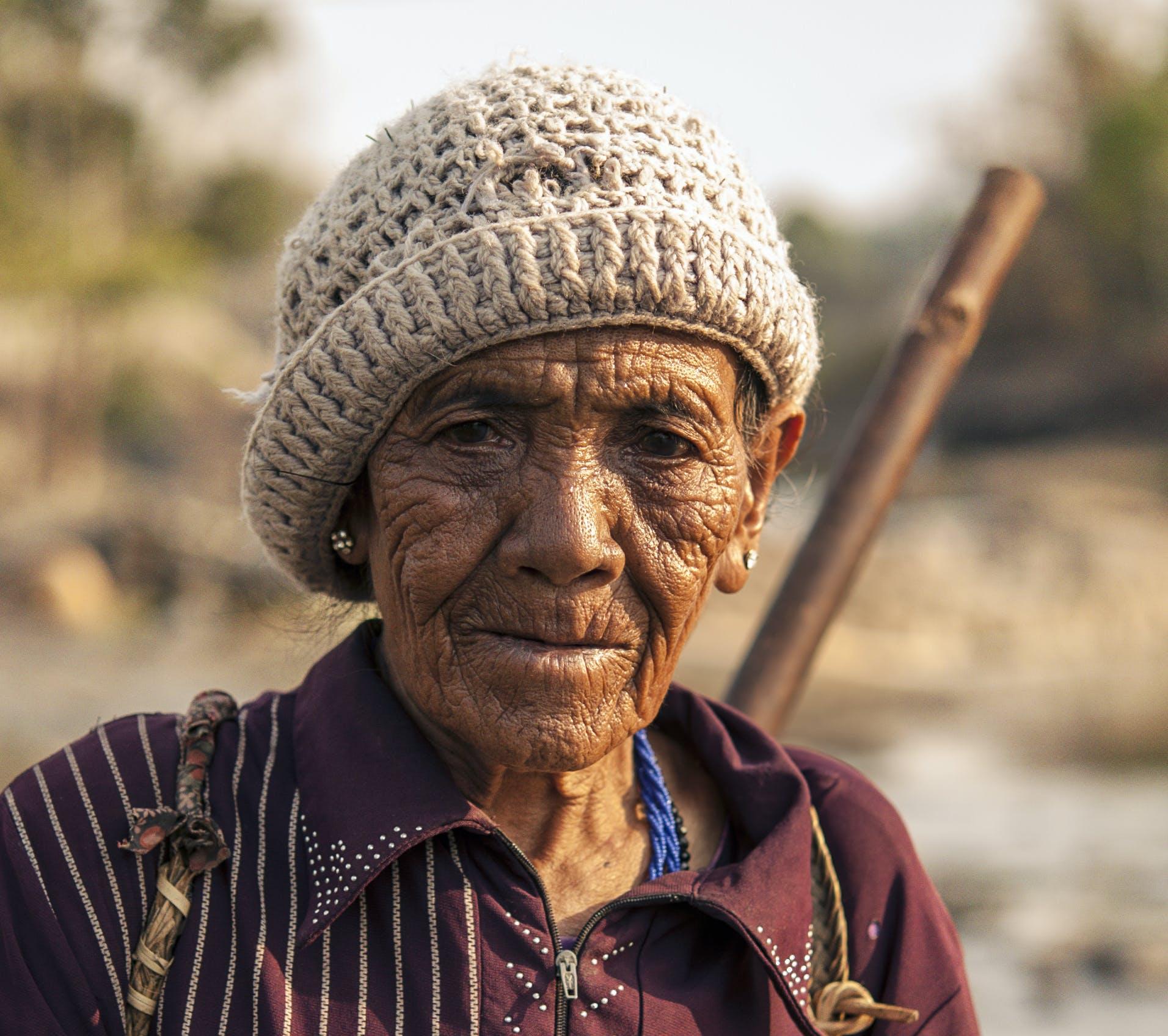 Old Man Wearing Brown Beanie