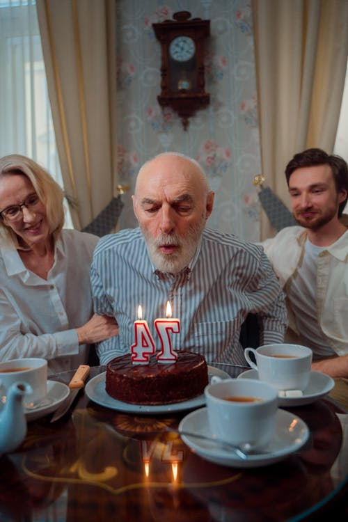 Free stock photo of adult, birthday cake, blowing candles