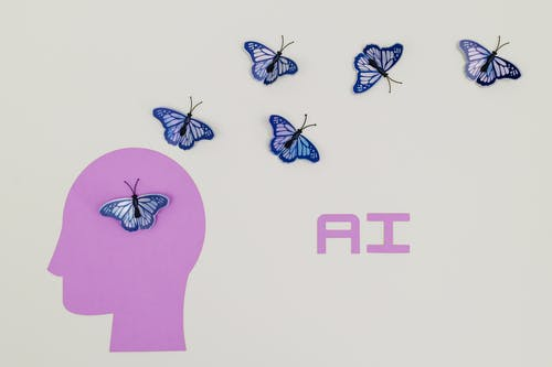 Pink and Blue Butterflies Illustration