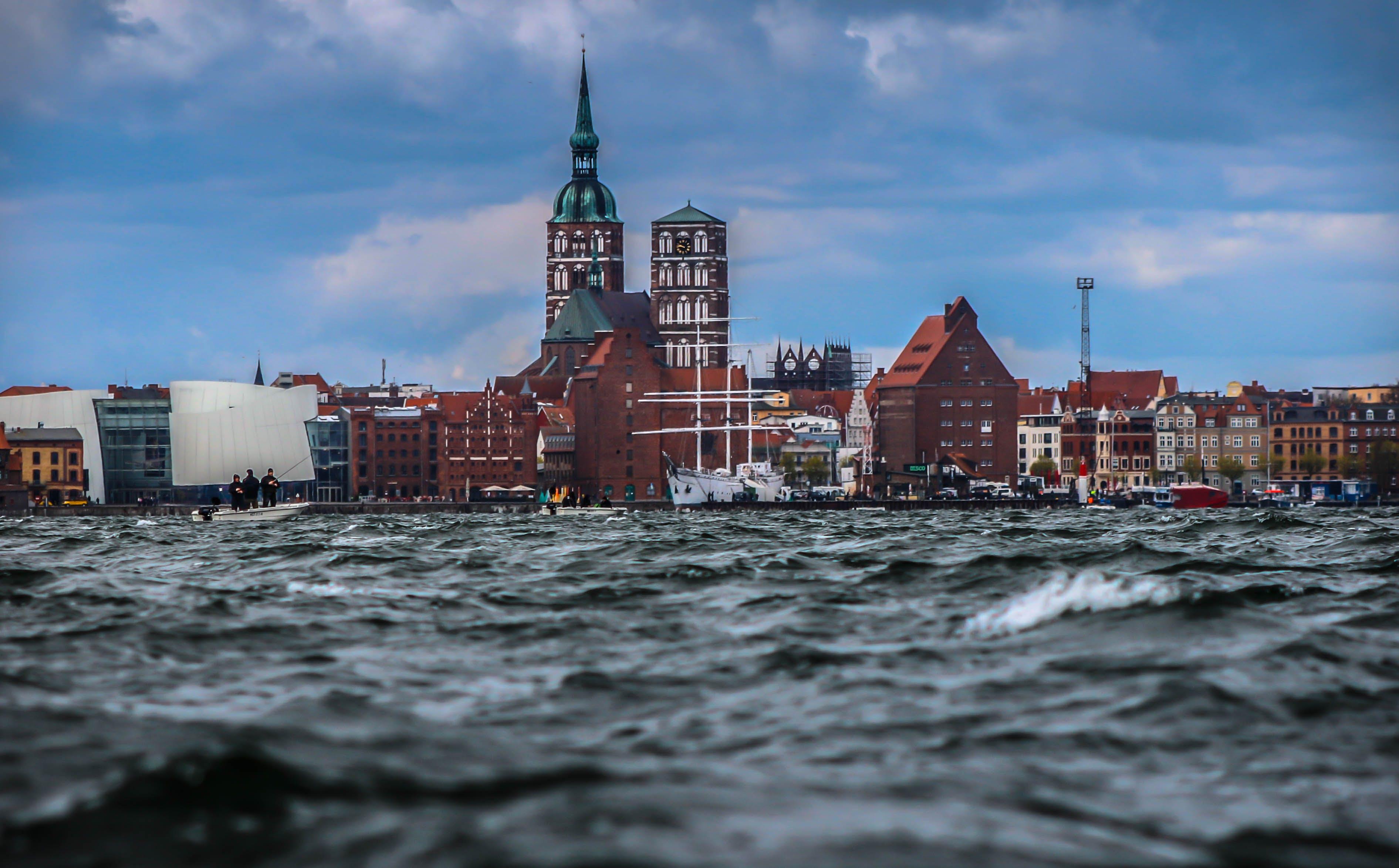agua, arquitectura, barcos