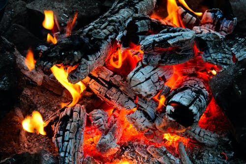 Photo of Burning Firewood and Glowing Embers