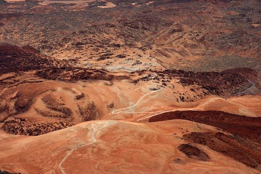 High Angle Shot Of Desert Mountain