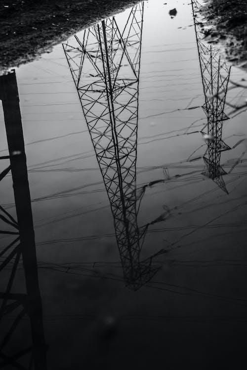 Free stock photo of antenna, blackandwhite, cable