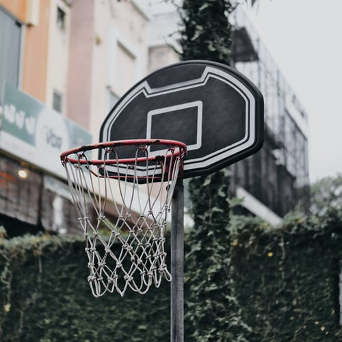 Basketball Ring With Black and White Backboard