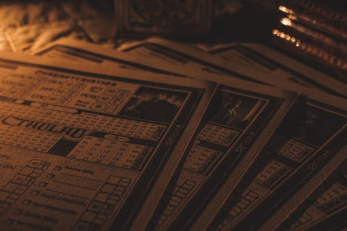 Free stock photo of game, moody, rpg, sheet