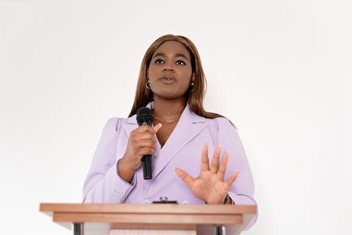 A woman speaking