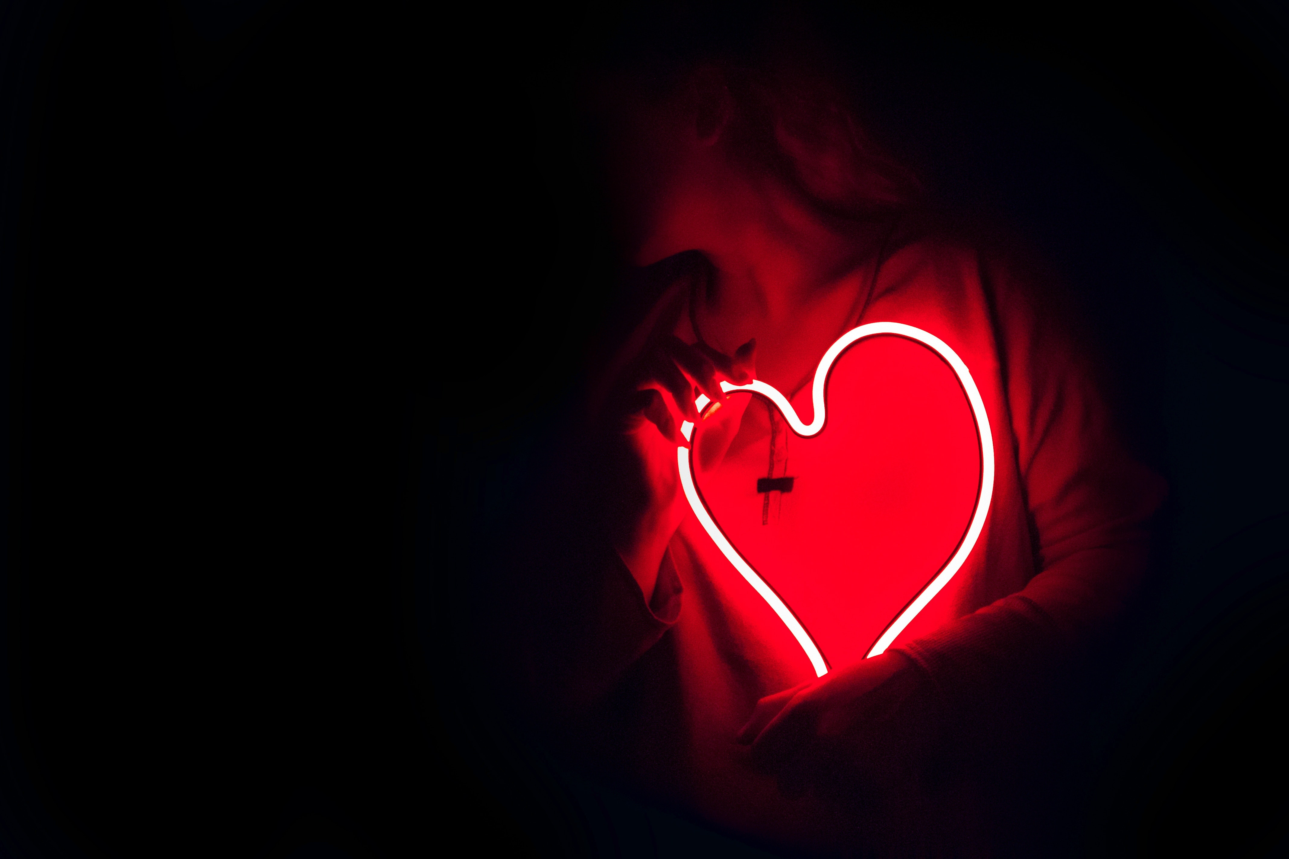 Heart Shaped Red Neon Signage Free Stock Photo