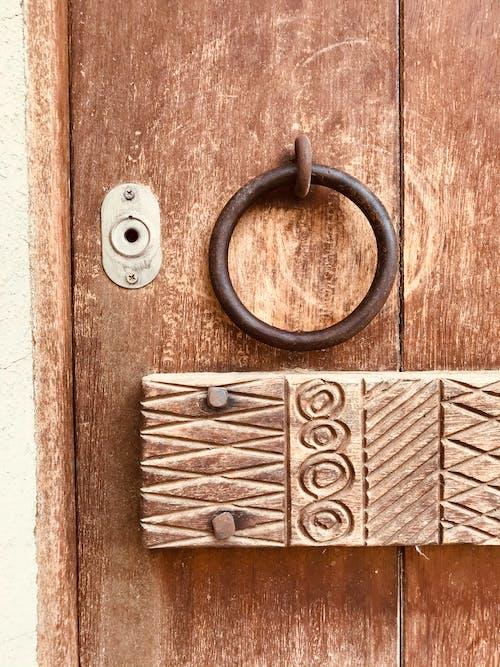 Decorated Woden Panel and Brass Door Knocker on a Old Door