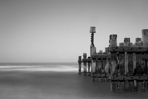 Free stock photo of coastal, groyne, monochrome