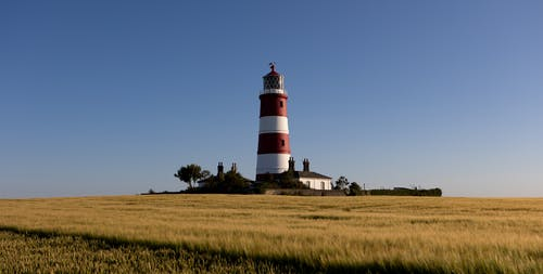 White and Red Lighthouse on Green Grass Field Under Blue Sky