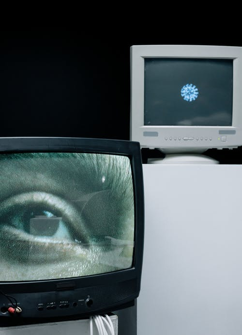 Person's Eye Showing on a TV's Screen