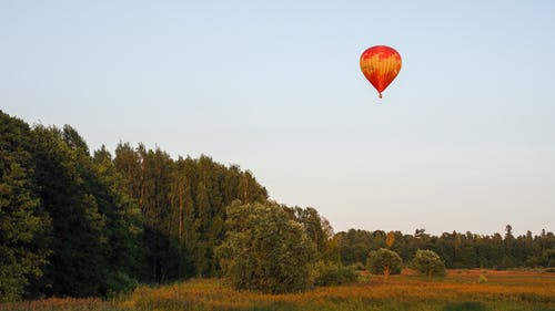Red Hot Air Balloon Flying over Green Trees