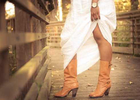 Women's Brown Leather Chunky Heel Calf Boots