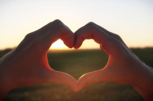 Безкоштовне стокове фото на тему «Захід сонця, Природа, руки, серце»