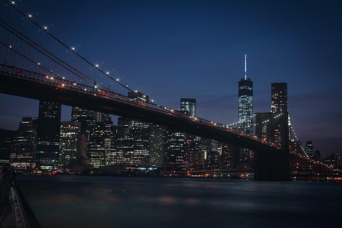 Brooklyn híd, éjszaka, épület